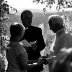 Old couple renewing vows after 50 years