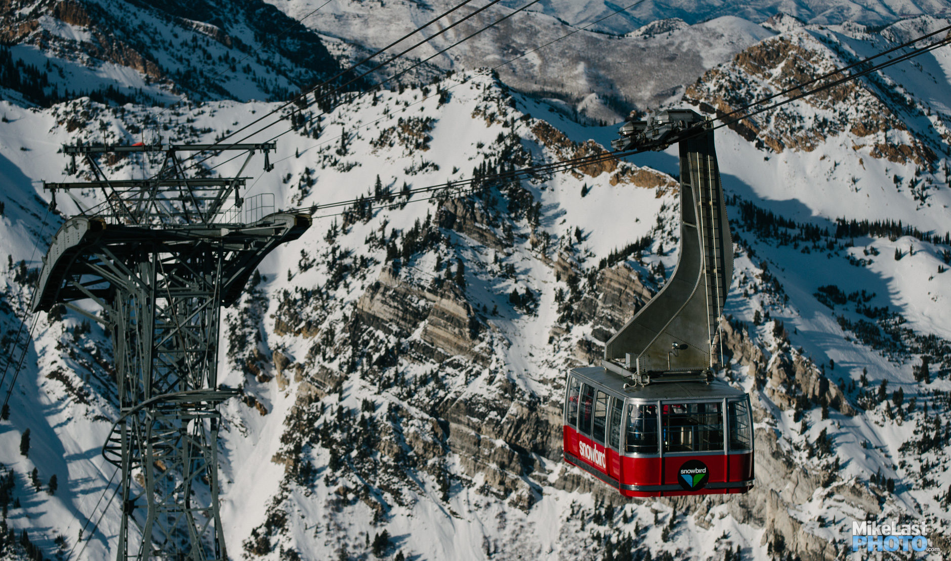 The tram arrives at the summit of Hidden Peak at Snowbird Mountain Resort.