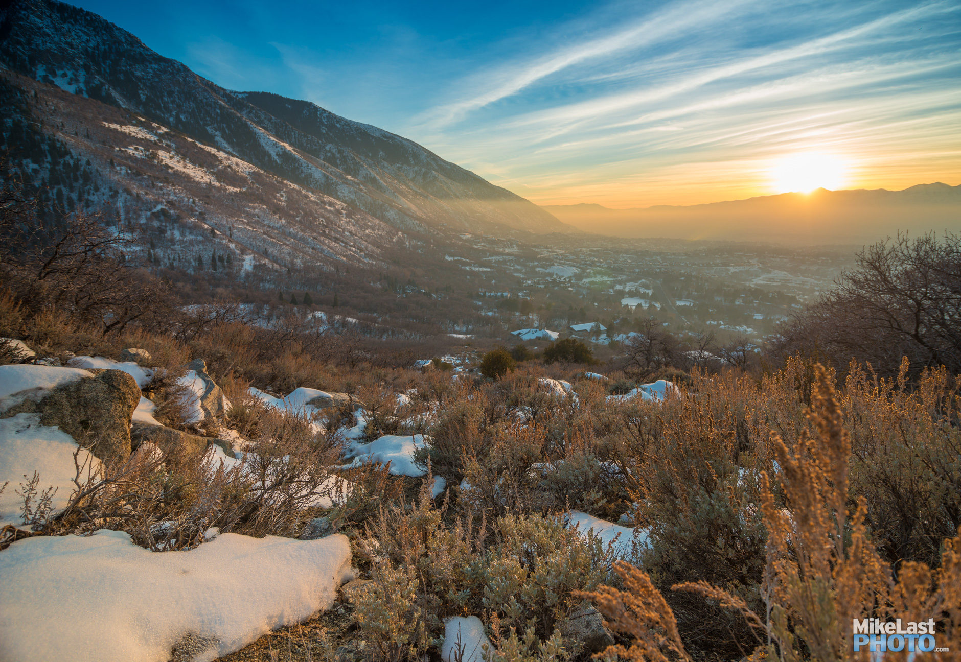 The sun sets on the Bell Canyon Trail. Wasatch on the left, Oquirrhs on the right.