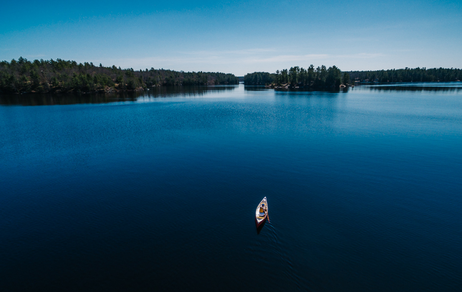Aerial Canoe on Muskoka Lake