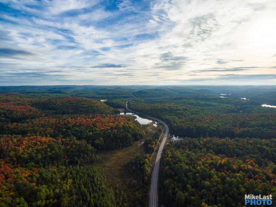Aerial View of Highway 60 in Fall, Algonquin Park