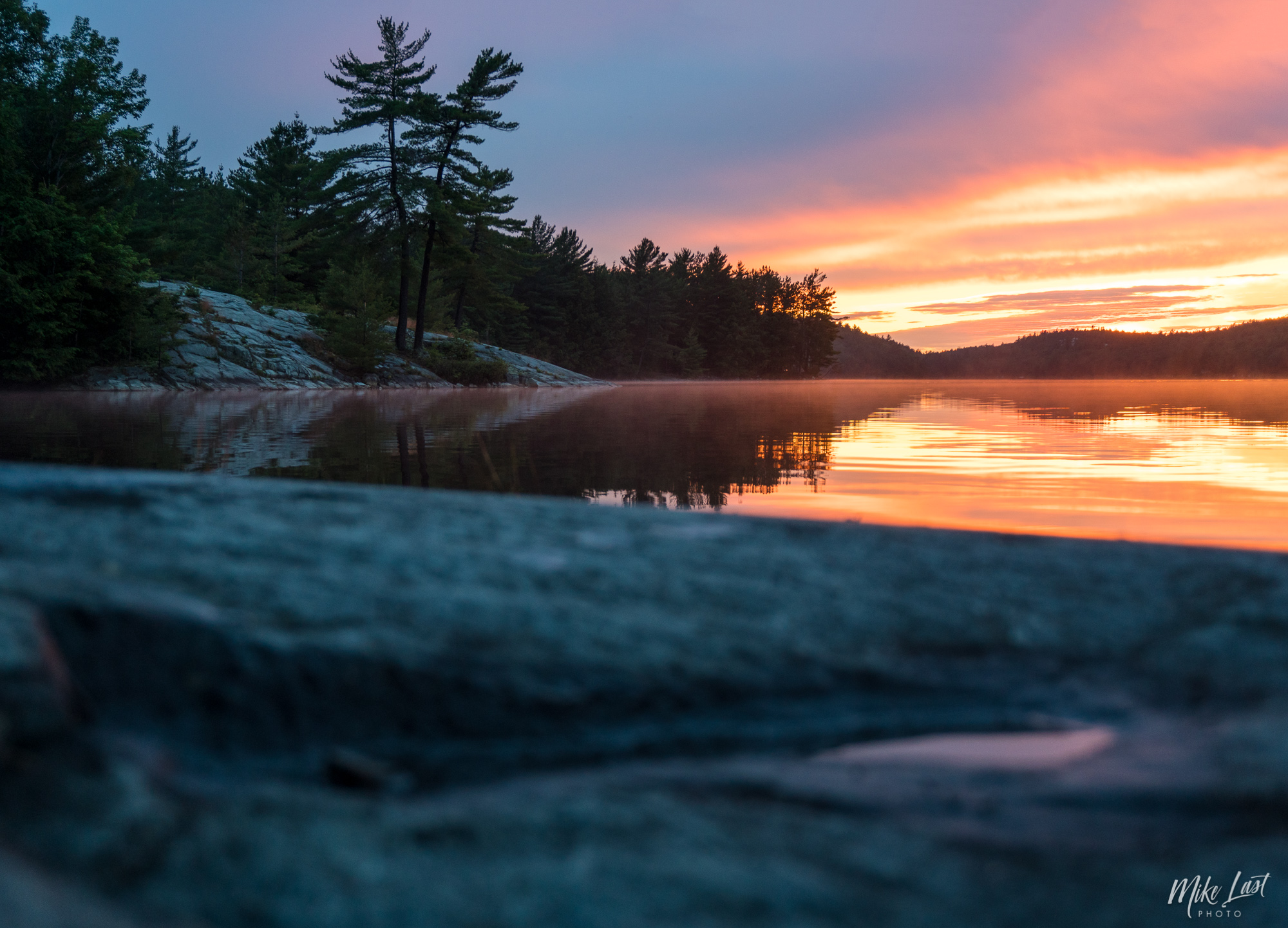 Sunset from David Lake - Killarney Provincial Park