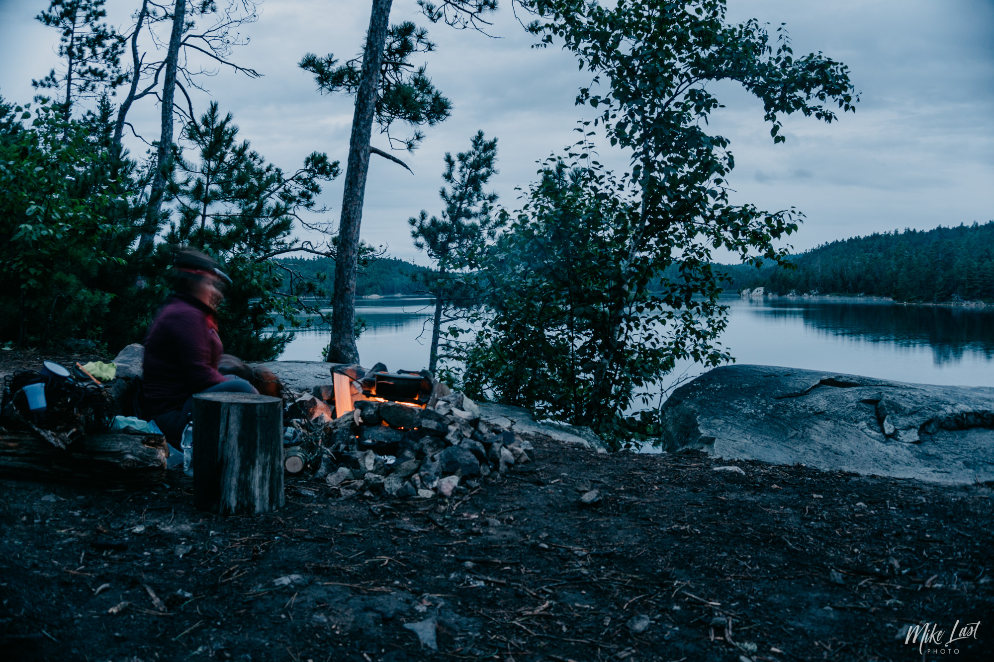 Campfire on Wolf Lake - Temagami, ON Canoe Trip