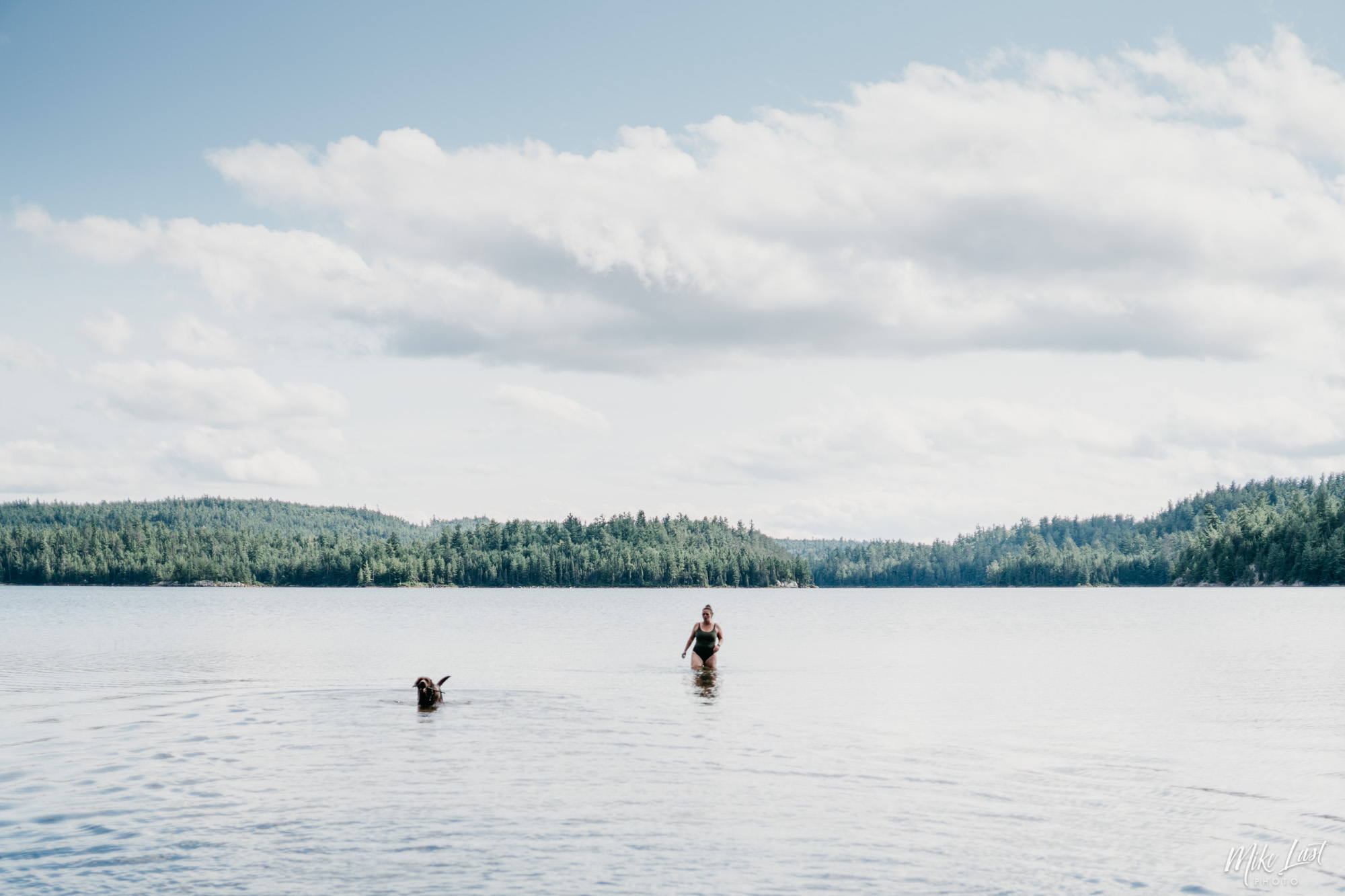 Swimming in McConnell Bay on Chiniguchi Lake - Temagami, ON Canoe Trip