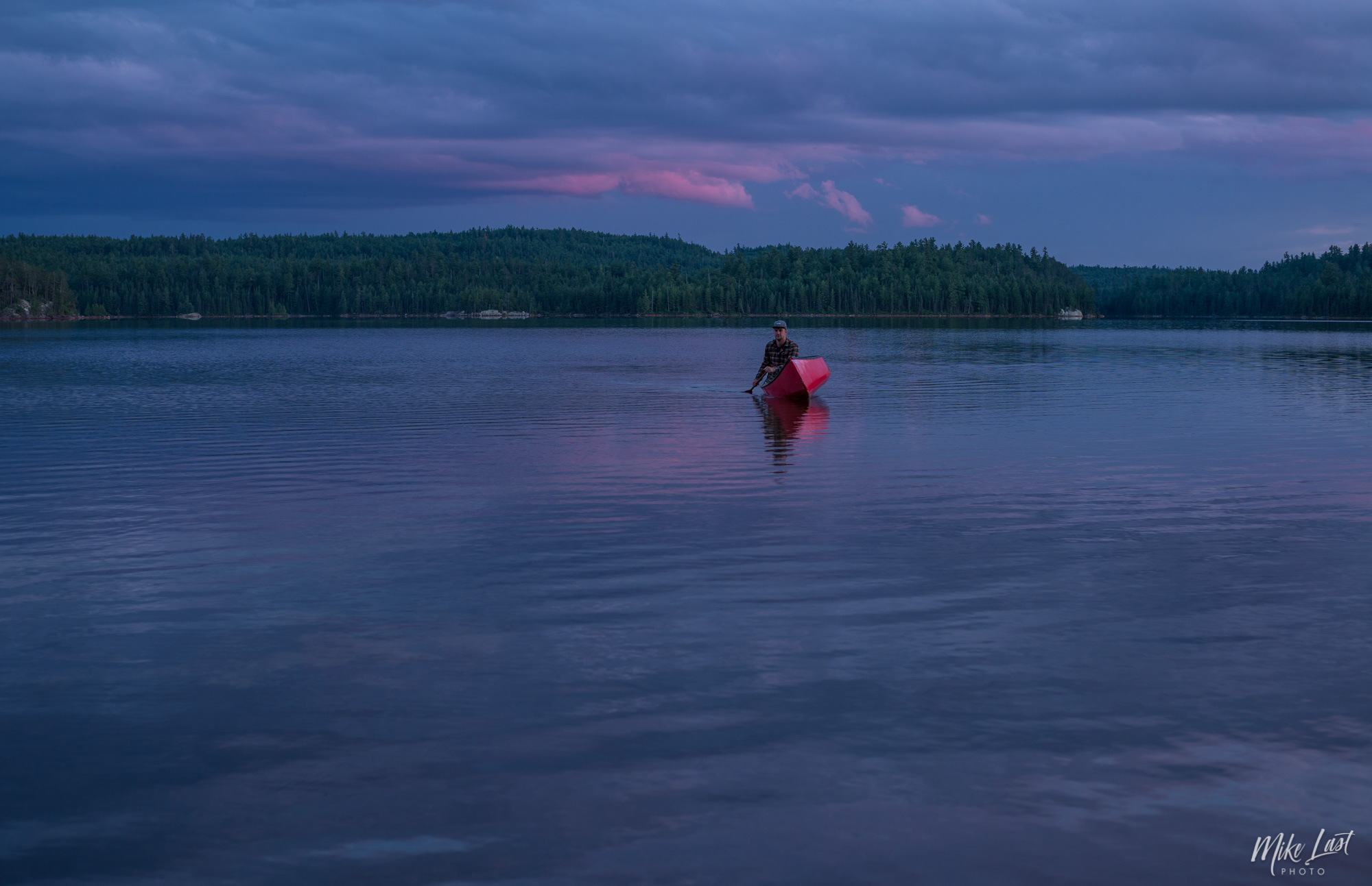 Paddling at Sunset across McConnell Bay on Chiniguchi Lake - Temagami, ON Canoe Trip