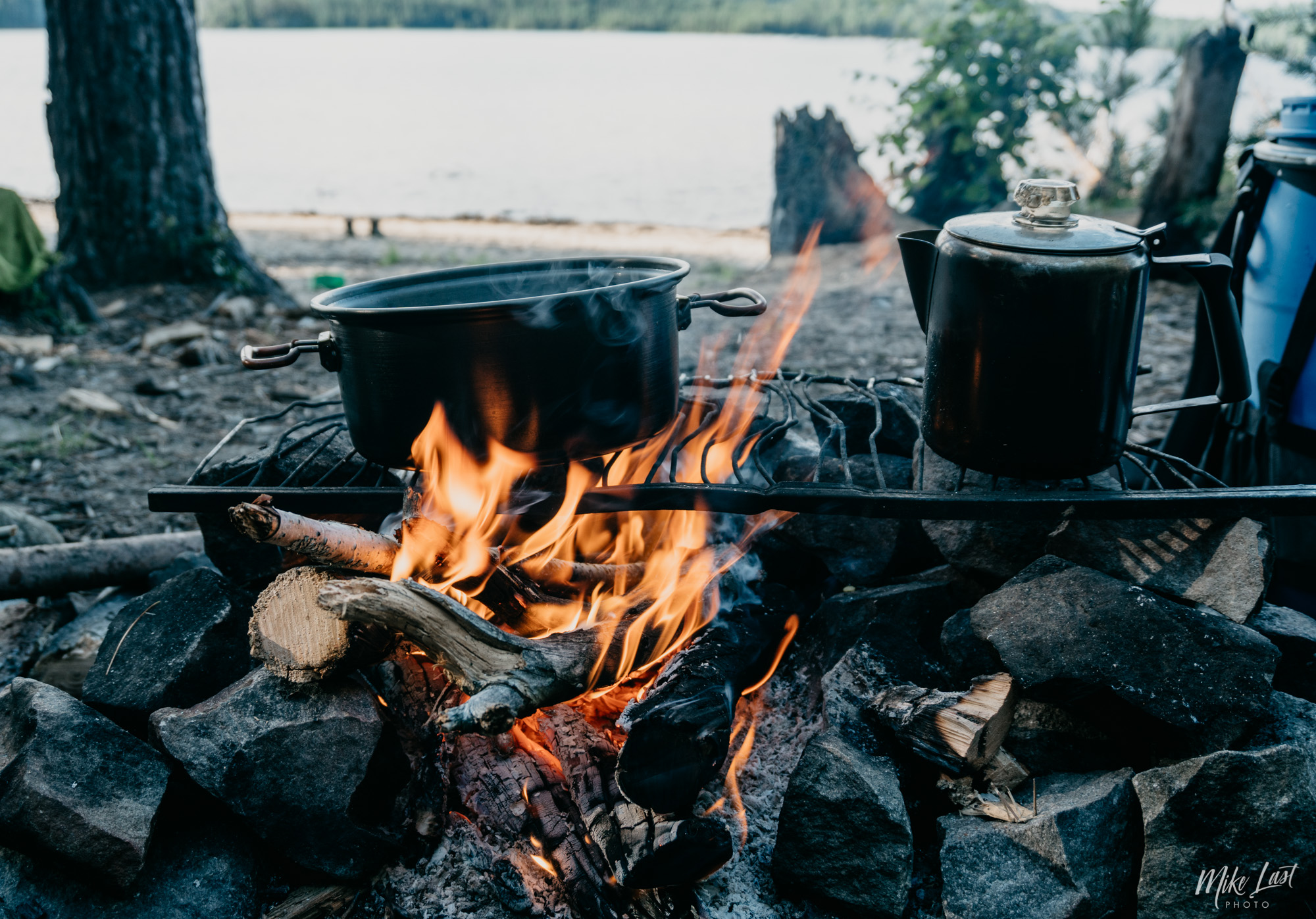 Campfire and Coffee Breakfast on Canoe Trip - Temagami, ON