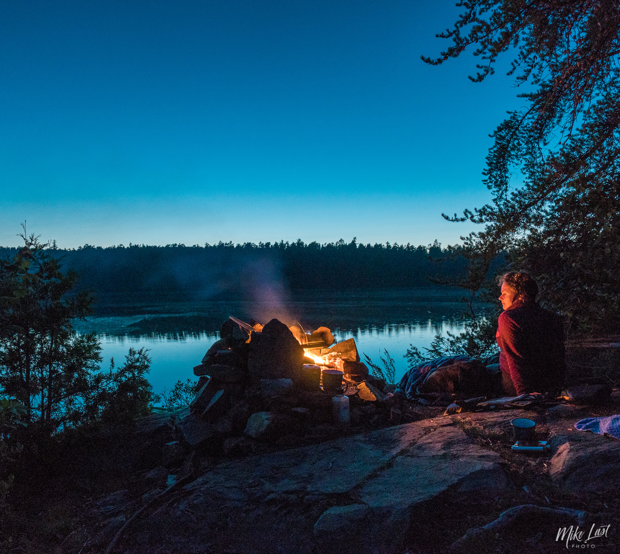 Campfire on Wessel Lake - Temagami, ON Canoe Trip