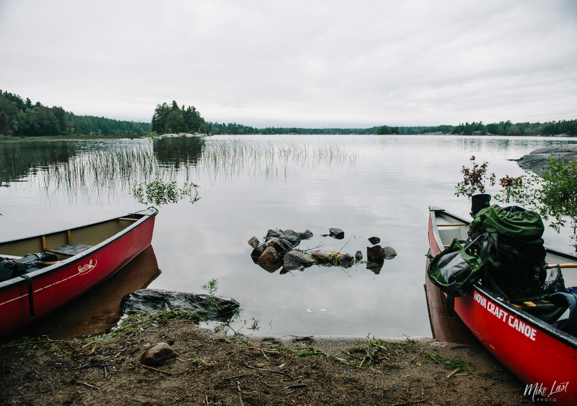 High water levels leave the camp fire under water in French River Provincial Park