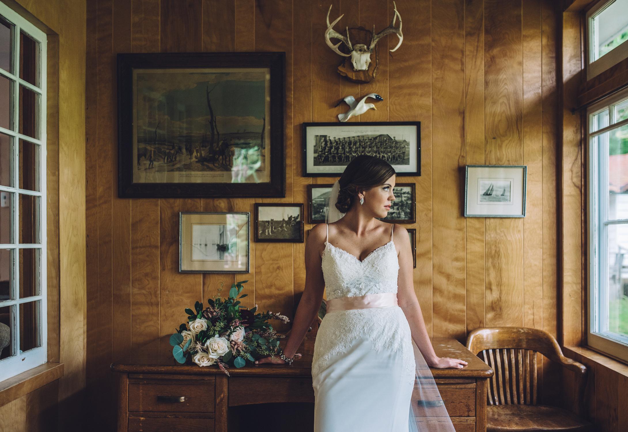 Emma waits for the wedding ceremony to begin at Lumina Resort in Muskoka