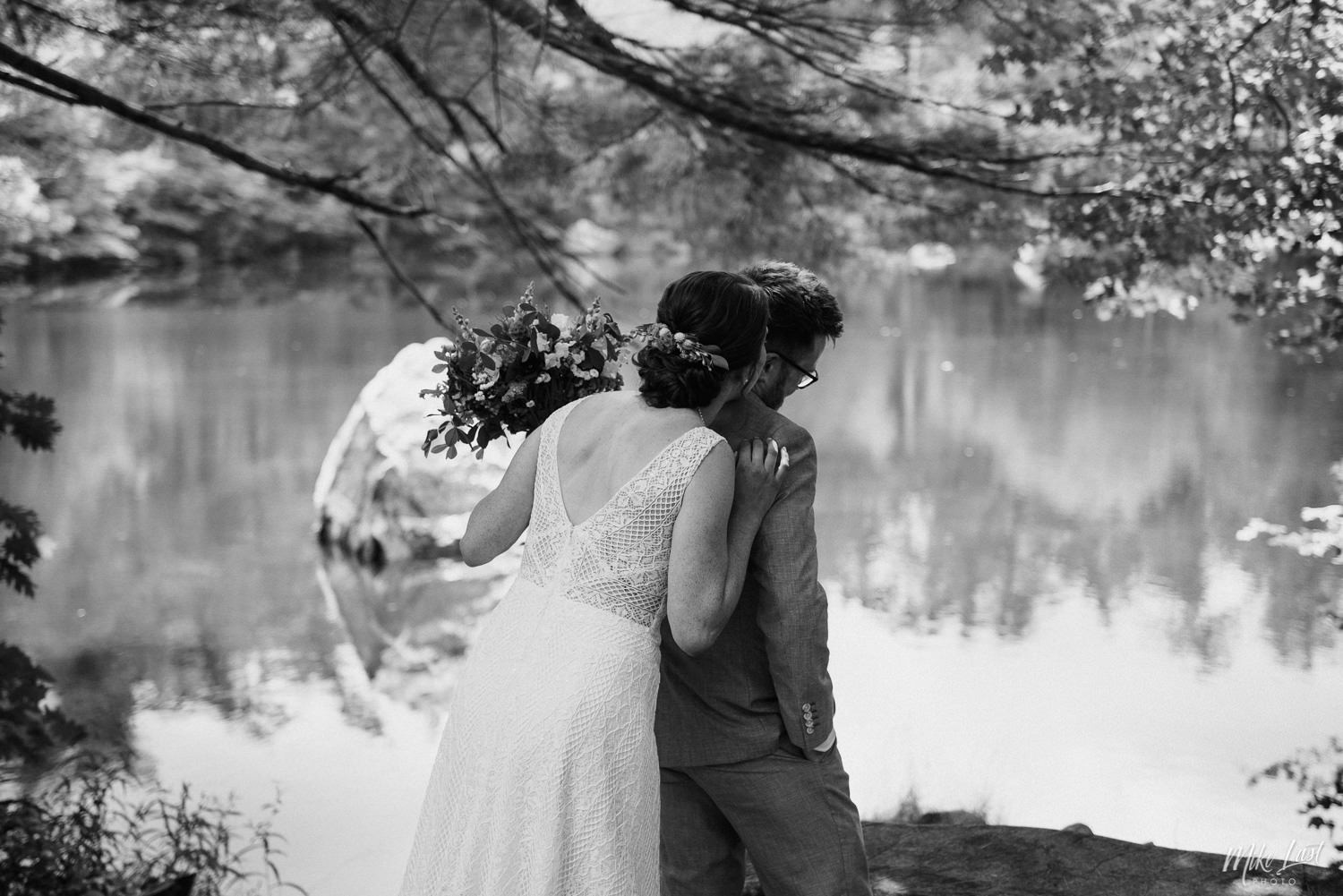 Bridge and groom first look at Pine Grove Park in Milton, Nova Scotia