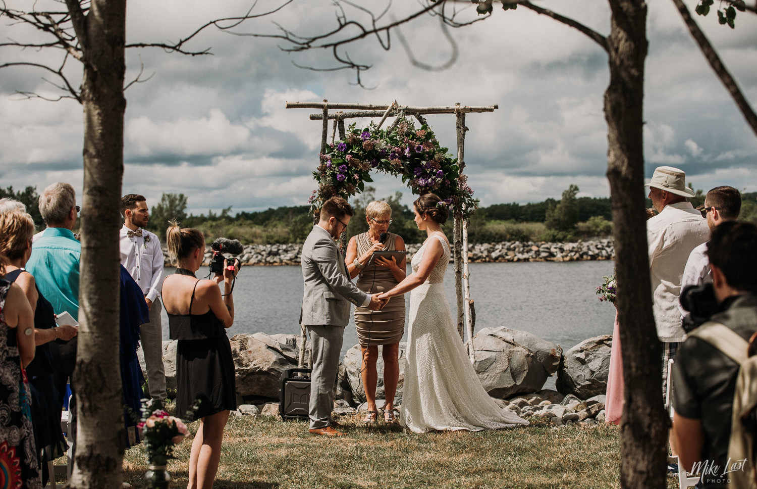 Wedding ceremony on the Mersey River, Nova Scotia.