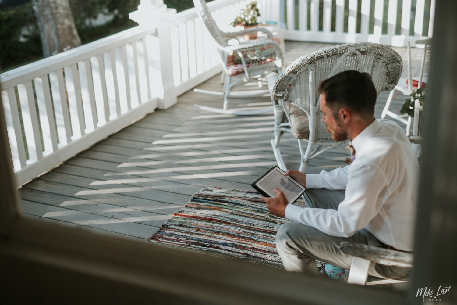 Best man putting final touches on his wedding speech.
